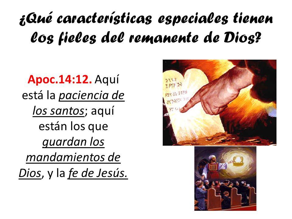 ¿Qué características especiales tienen los fieles del remanente de Dios? Apoc.14:12. Aquí está la paciencia de los santos; aquí están los que guardan