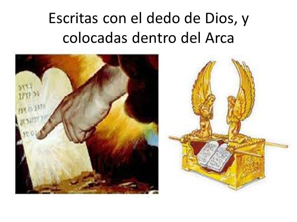 Escritas con el dedo de Dios, y colocadas dentro del Arca
