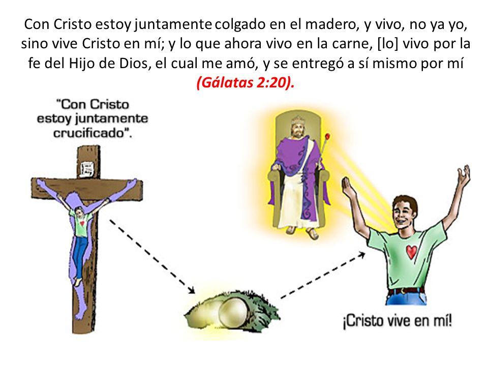 Con Cristo estoy juntamente colgado en el madero, y vivo, no ya yo, sino vive Cristo en mí; y lo que ahora vivo en la carne, [lo] vivo por la fe del H