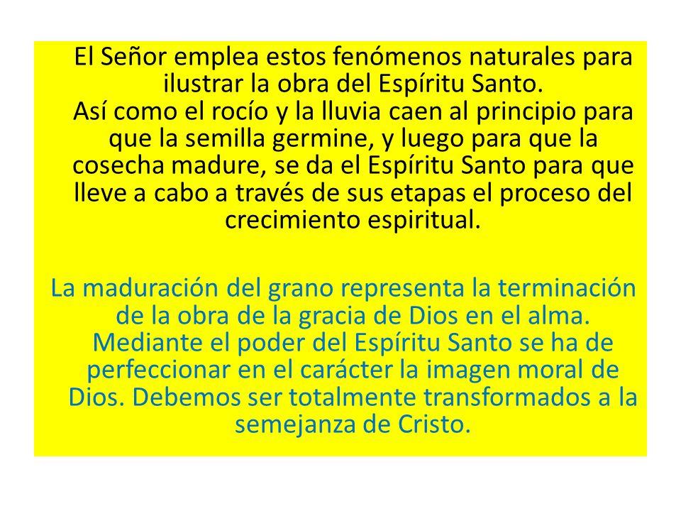 El Señor emplea estos fenómenos naturales para ilustrar la obra del Espíritu Santo. Así como el rocío y la lluvia caen al principio para que la semill