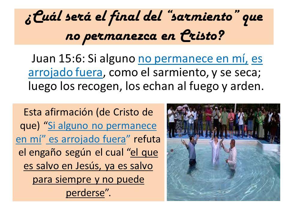 ¿Cuál será el final del sarmiento que no permanezca en Cristo? Juan 15:6: Si alguno no permanece en mí, es arrojado fuera, como el sarmiento, y se sec