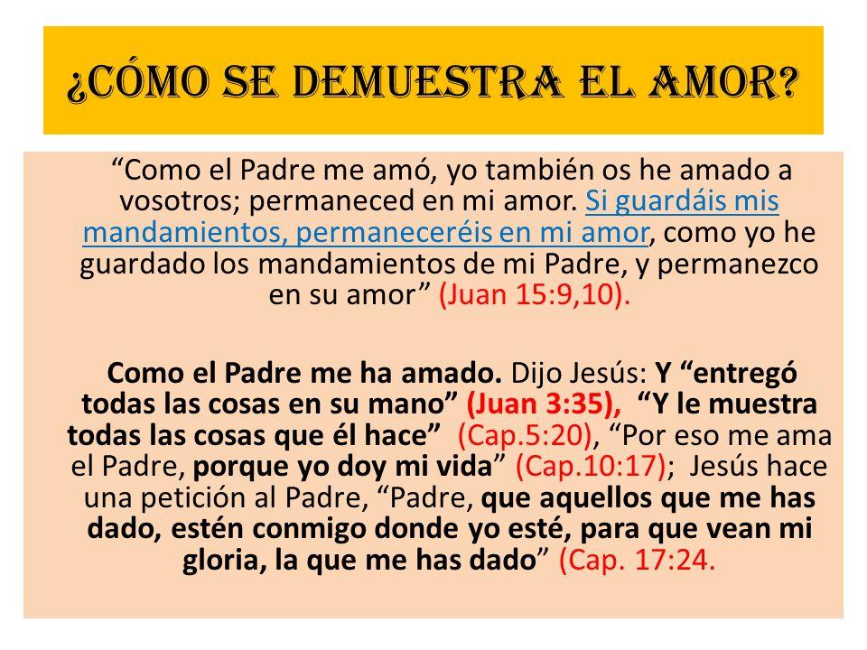 ¿Cómo se demuestra el amor? Como el Padre me amó, yo también os he amado a vosotros; permaneced en mi amor. Si guardáis mis mandamientos, permaneceréi