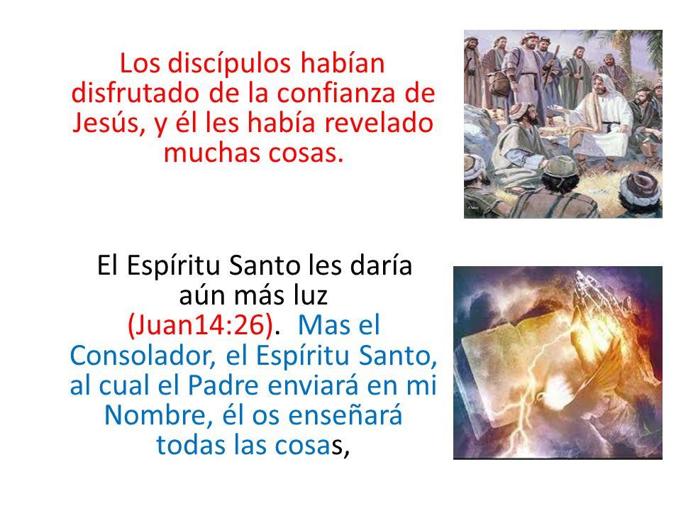 Los discípulos habían disfrutado de la confianza de Jesús, y él les había revelado muchas cosas. El Espíritu Santo les daría aún más luz (Juan14:26).
