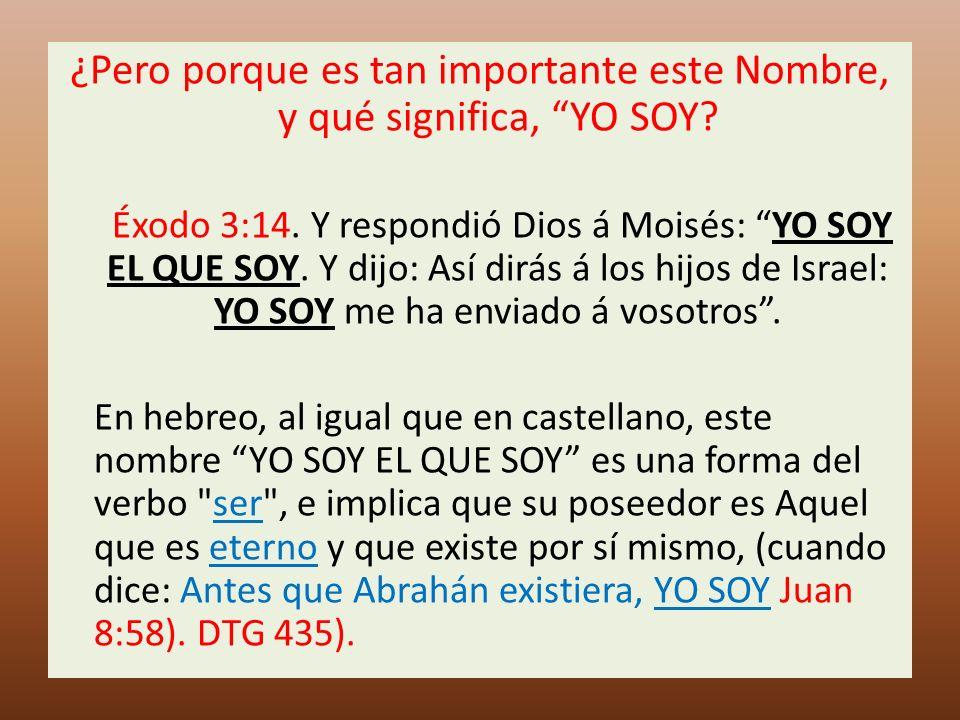 ¿Pero porque es tan importante este Nombre, y qué significa, YO SOY? Éxodo 3:14. Y respondió Dios á Moisés: YO SOY EL QUE SOY. Y dijo: Así dirás á los