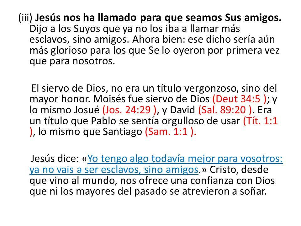 (iii) Jesús nos ha llamado para que seamos Sus amigos. Dijo a los Suyos que ya no los iba a llamar más esclavos, sino amigos. Ahora bien: ese dicho se