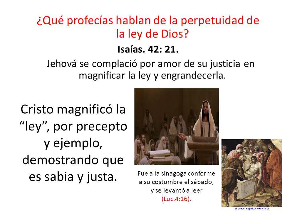 ¿Qué profecías hablan de la perpetuidad de la ley de Dios? Isaías. 42: 21. Jehová se complació por amor de su justicia en magnificar la ley y engrande