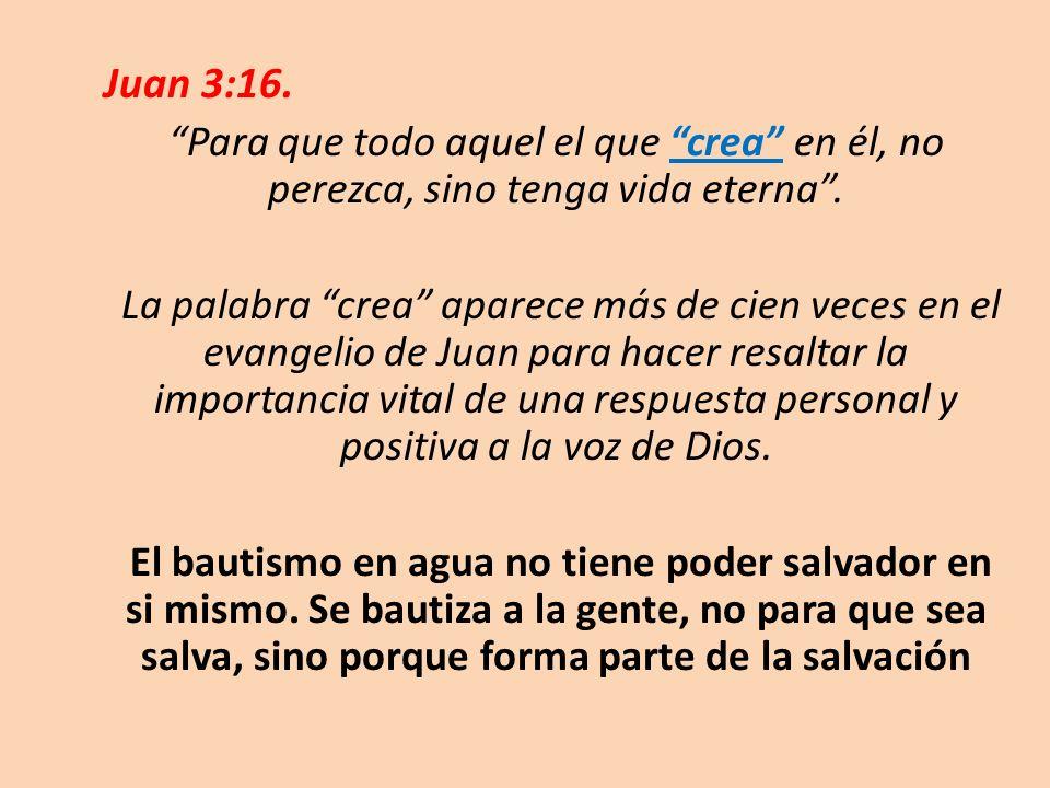 Juan 3:16. Para que todo aquel el que crea en él, no perezca, sino tenga vida eterna. La palabra crea aparece más de cien veces en el evangelio de Jua