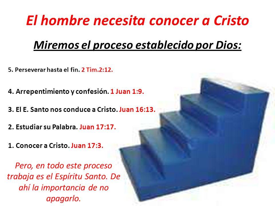 El hombre necesita conocer a Cristo Miremos el proceso establecido por Dios: 1. Conocer a Cristo. Juan 17:3. 2. Estudiar su Palabra. Juan 17:17. 3. El