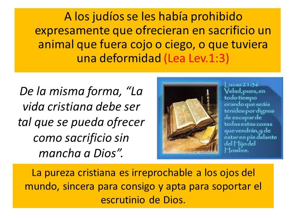 A los judíos se les había prohibido expresamente que ofrecieran en sacrificio un animal que fuera cojo o ciego, o que tuviera una deformidad (Lea Lev.