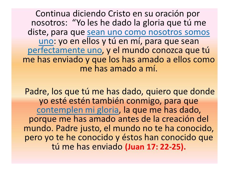 Continua diciendo Cristo en su oración por nosotros: Yo les he dado la gloria que tú me diste, para que sean uno como nosotros somos uno: yo en ellos
