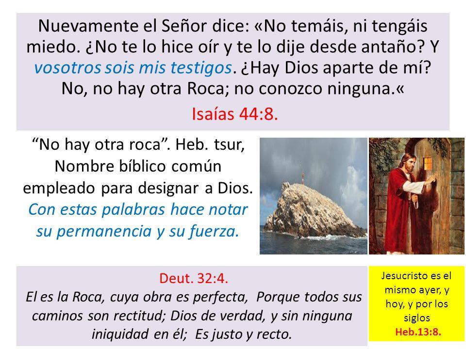 Nuevamente el Señor dice: «No temáis, ni tengáis miedo. ¿No te lo hice oír y te lo dije desde antaño? Y vosotros sois mis testigos. ¿Hay Dios aparte d