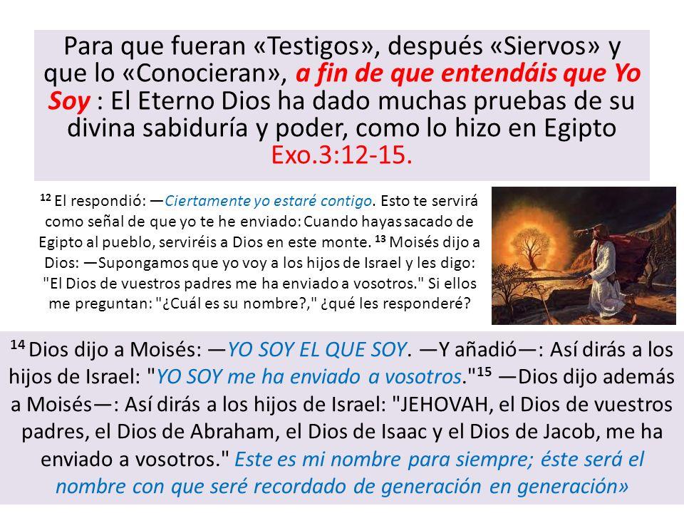 Para que fueran «Testigos», después «Siervos» y que lo «Conocieran», a fin de que entendáis que Yo Soy : El Eterno Dios ha dado muchas pruebas de su d