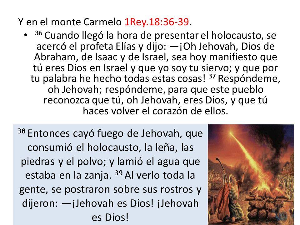 Y en el monte Carmelo 1Rey.18:36-39. 36 Cuando llegó la hora de presentar el holocausto, se acercó el profeta Elías y dijo: ¡Oh Jehovah, Dios de Abrah