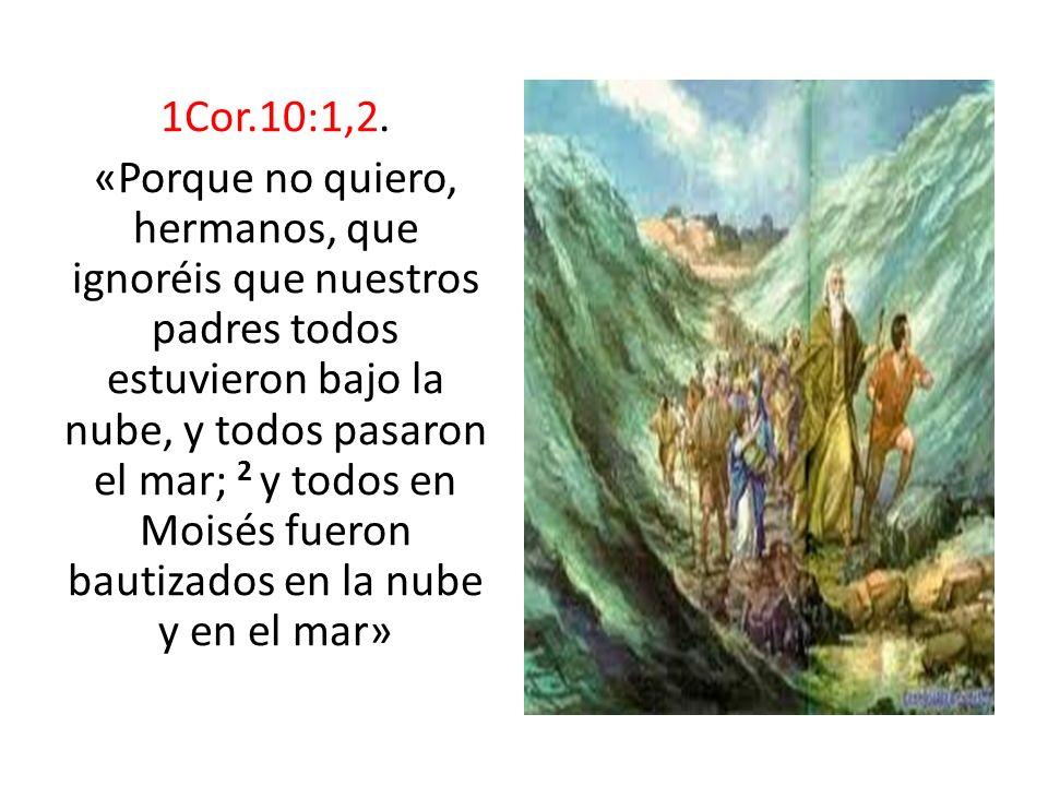 1Cor.10:1,2. «Porque no quiero, hermanos, que ignoréis que nuestros padres todos estuvieron bajo la nube, y todos pasaron el mar; 2 y todos en Moisés