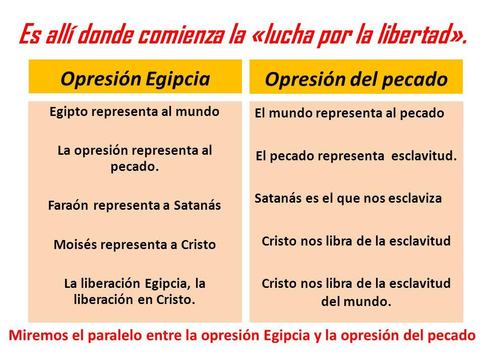 Es allí donde comienza la «lucha por la libertad». Opresión Egipcia Egipto representa al mundo La opresión representa al pecado. Faraón representa a S