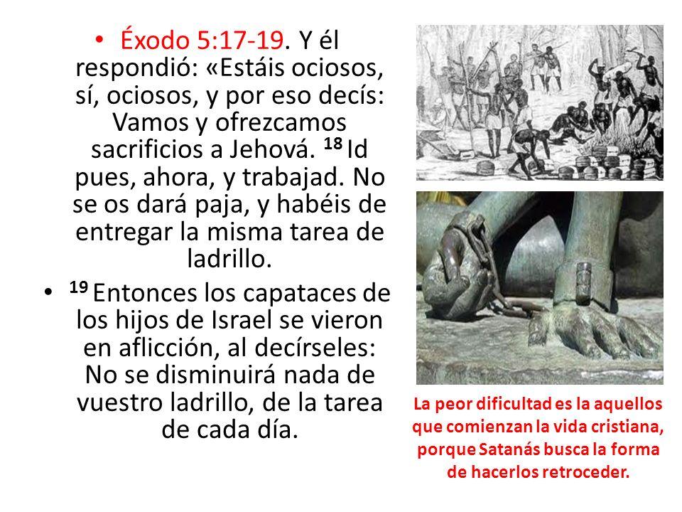 Éxodo 5:17-19. Y él respondió: «Estáis ociosos, sí, ociosos, y por eso decís: Vamos y ofrezcamos sacrificios a Jehová. 18 Id pues, ahora, y trabajad.