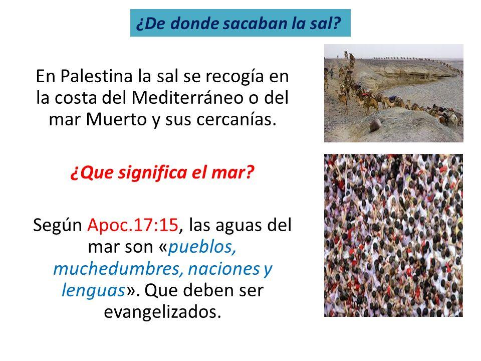 En Palestina la sal se recogía en la costa del Mediterráneo o del mar Muerto y sus cercanías. ¿Que significa el mar? Según Apoc.17:15, las aguas del m