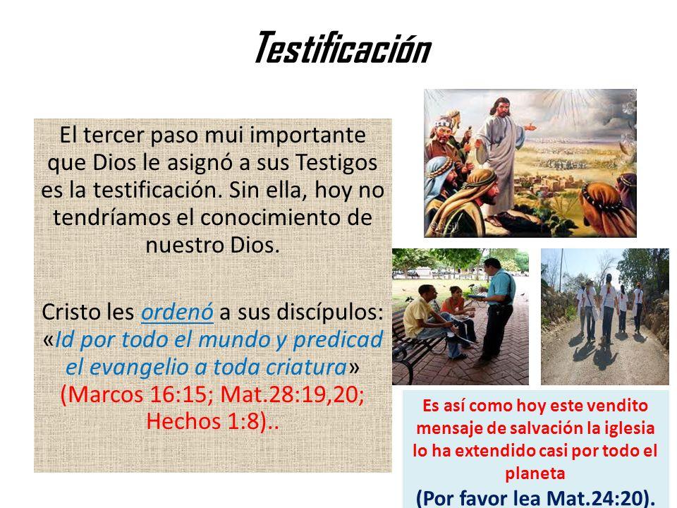 Testificación El tercer paso mui importante que Dios le asignó a sus Testigos es la testificación. Sin ella, hoy no tendríamos el conocimiento de nues