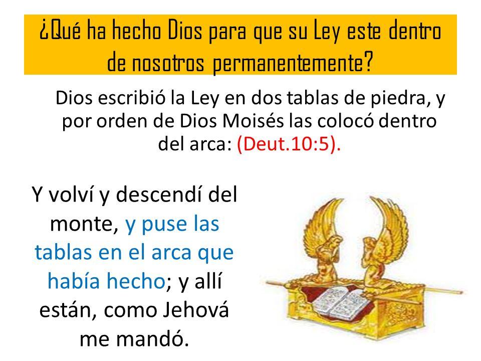 ¿Qué ha hecho Dios para que su Ley este dentro de nosotros permanentemente? Dios escribió la Ley en dos tablas de piedra, y por orden de Dios Moisés l
