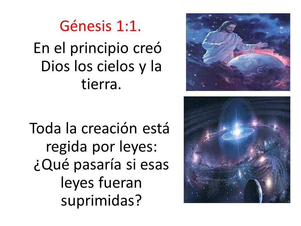 Génesis 1:1. En el principio creó Dios los cielos y la tierra. Toda la creación está regida por leyes: ¿Qué pasaría si esas leyes fueran suprimidas?