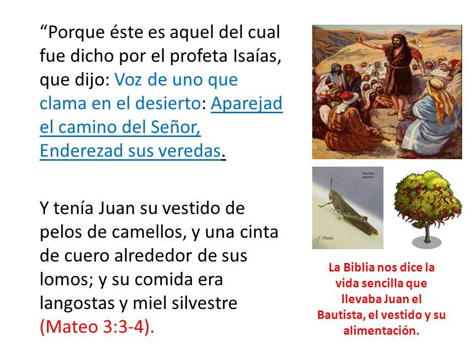 Porque éste es aquel del cual fue dicho por el profeta Isaías, que dijo: Voz de uno que clama en el desierto: Aparejad el camino del Señor, Enderezad