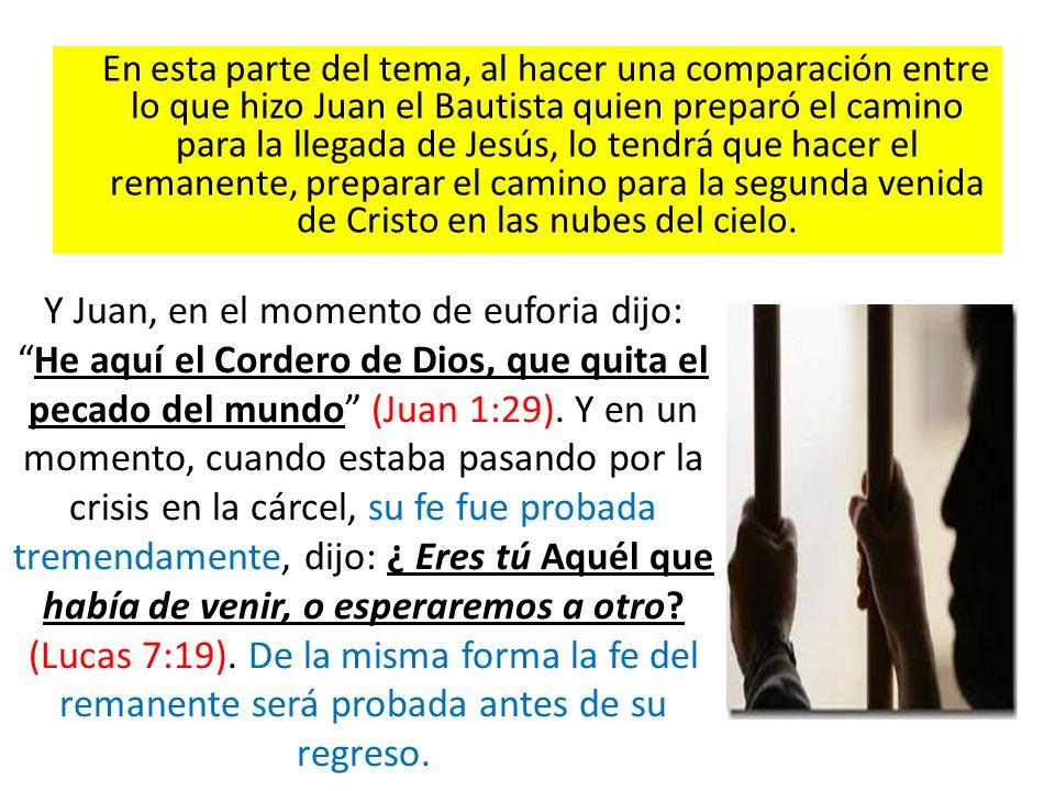En esta parte del tema, al hacer una comparación entre lo que hizo Juan el Bautista quien preparó el camino para la llegada de Jesús, lo tendrá que ha