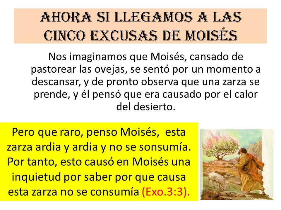 Ahora si llegamos a las cinco excusas de Moisés Nos imaginamos que Moisés, cansado de pastorear las ovejas, se sentó por un momento a descansar, y de