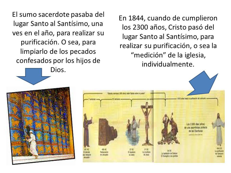 El sumo sacerdote pasaba del lugar Santo al Santísimo, una ves en el año, para realizar su purificación. O sea, para limpiarlo de los pecados confesad