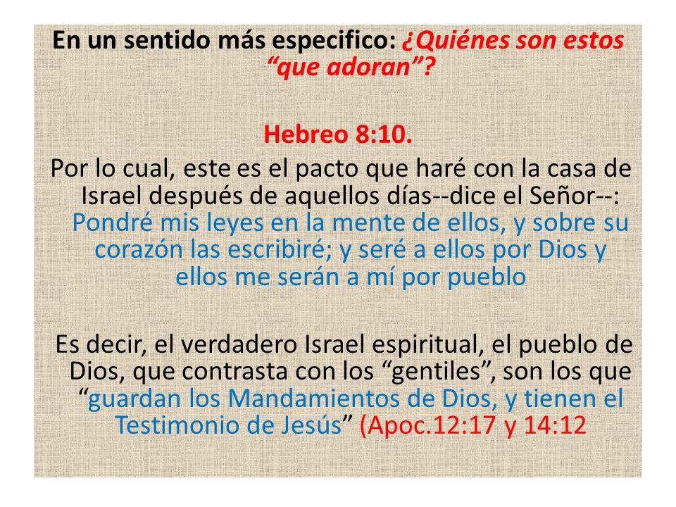 En un sentido más especifico: ¿Quiénes son estos que adoran? Hebreo 8:10. Por lo cual, este es el pacto que haré con la casa de Israel después de aque