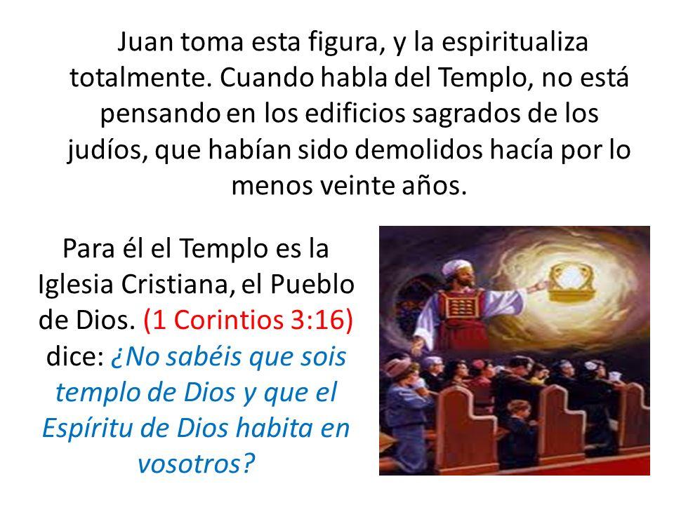 Juan toma esta figura, y la espiritualiza totalmente. Cuando habla del Templo, no está pensando en los edificios sagrados de los judíos, que habían si