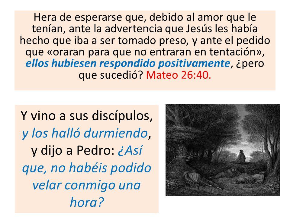 Hera de esperarse que, debido al amor que le tenían, ante la advertencia que Jesús les había hecho que iba a ser tomado preso, y ante el pedido que «o