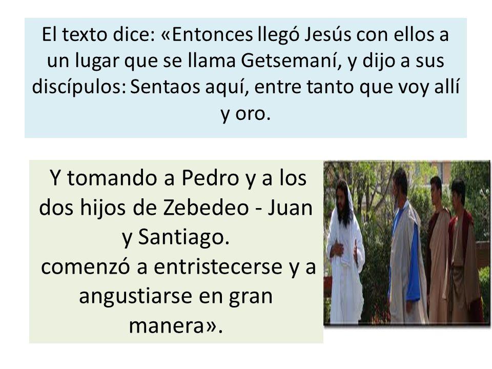 El texto dice: «Entonces llegó Jesús con ellos a un lugar que se llama Getsemaní, y dijo a sus discípulos: Sentaos aquí, entre tanto que voy allí y or