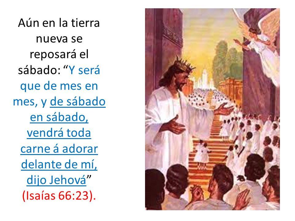 Aún en la tierra nueva se reposará el sábado: Y será que de mes en mes, y de sábado en sábado, vendrá toda carne á adorar delante de mí, dijo Jehová (