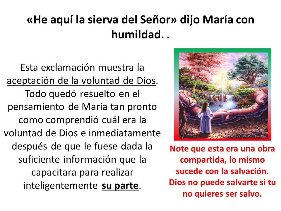 «He aquí la sierva del Señor» dijo María con humildad.. Esta exclamación muestra la aceptación de la voluntad de Dios. Todo quedó resuelto en el pensa