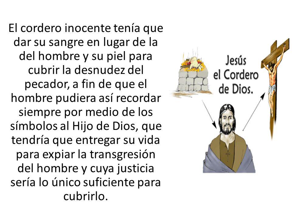 El cordero inocente tenía que dar su sangre en lugar de la del hombre y su piel para cubrir la desnudez del pecador, a fin de que el hombre pudiera as