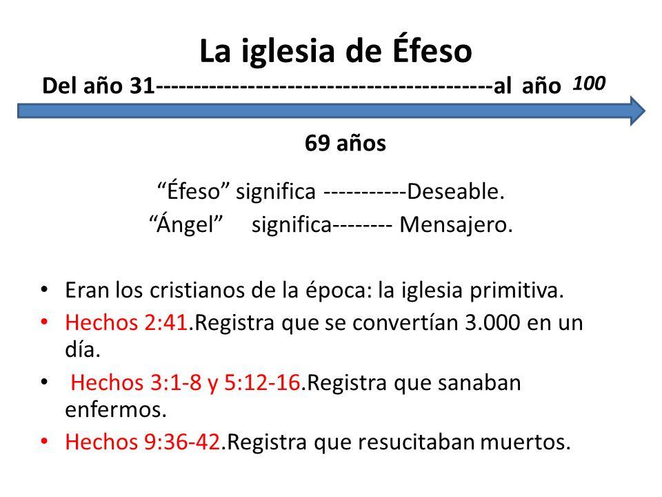 Éfeso significa -----------Deseable. Ángel significa-------- Mensajero. Eran los cristianos de la época: la iglesia primitiva. Hechos 2:41.Registra qu