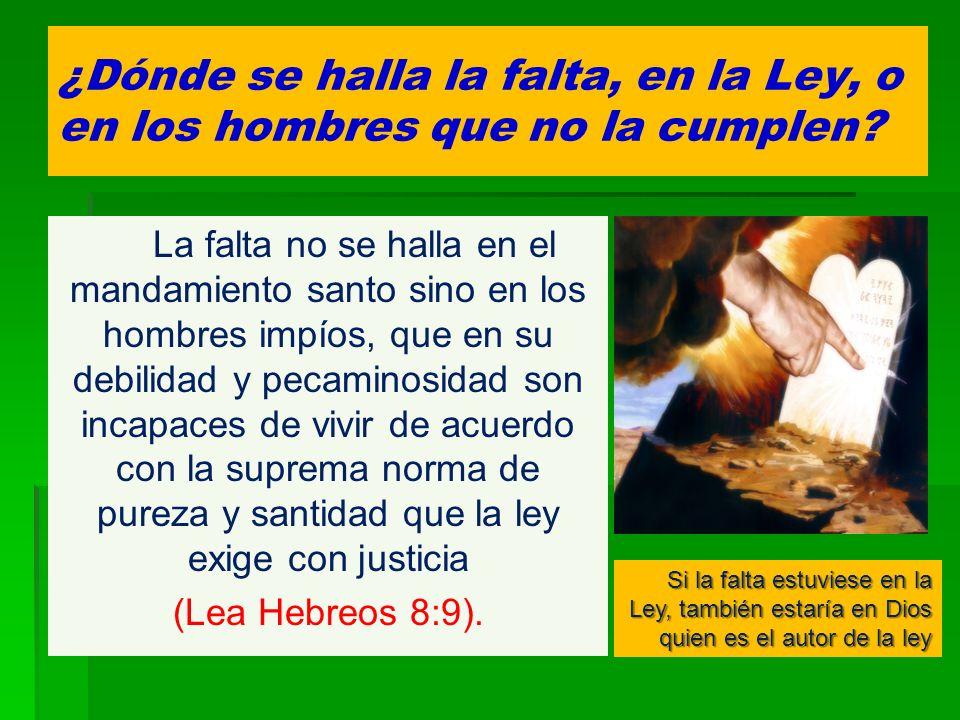 ¿Dónde se halla la falta, en la Ley, o en los hombres que no la cumplen? La falta no se halla en el mandamiento santo sino en los hombres impíos, que