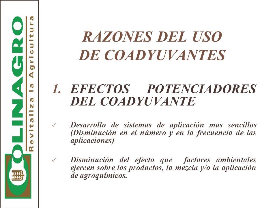 RAZONES DEL USO DE COADYUVANTES 1.EFECTOS POTENCIADORES DEL COADYUVANTE Desarrollo de sistemas de aplicación mas sencillos (Disminución en el número y