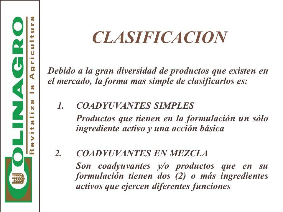 CLASIFICACION Debido a la gran diversidad de productos que existen en el mercado, la forma mas simple de clasificarlos es: 1.COADYUVANTES SIMPLES Prod