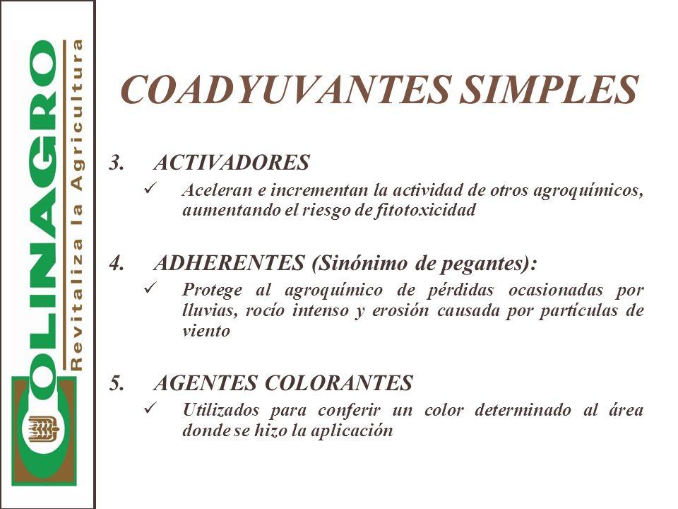 COADYUVANTES SIMPLES 3.ACTIVADORES Aceleran e incrementan la actividad de otros agroquímicos, aumentando el riesgo de fitotoxicidad 4.ADHERENTES (Sinó