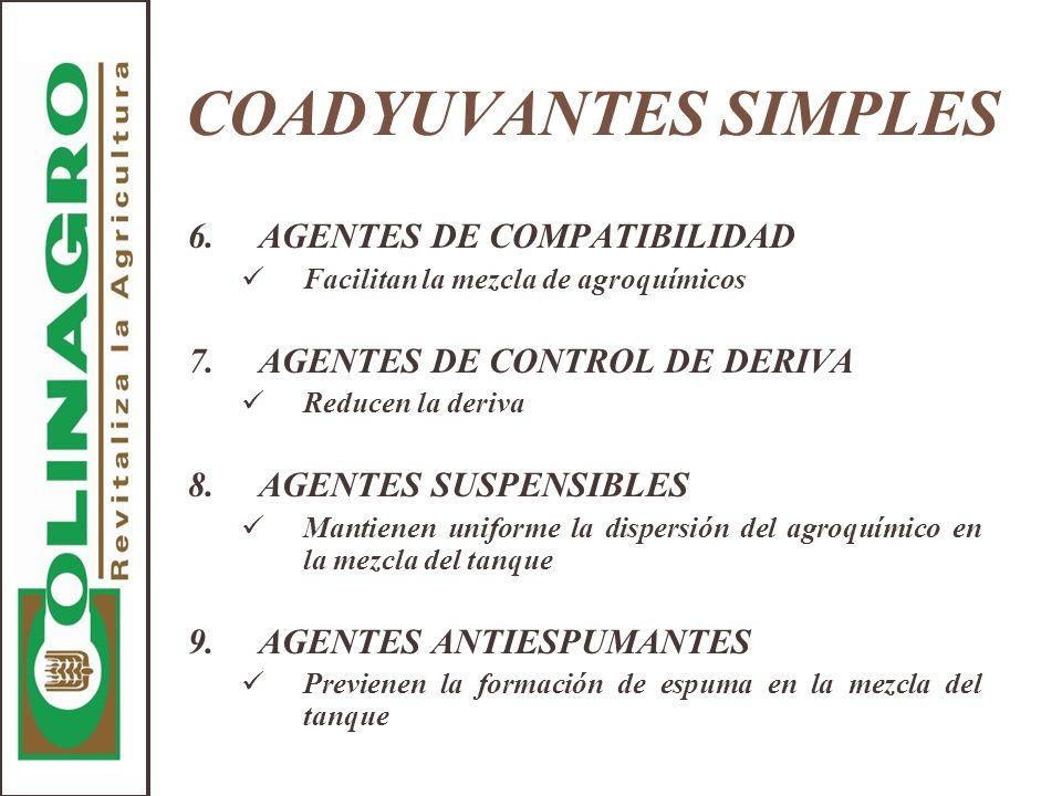 COADYUVANTES SIMPLES 6.AGENTES DE COMPATIBILIDAD Facilitan la mezcla de agroquímicos 7.AGENTES DE CONTROL DE DERIVA Reducen la deriva 8.AGENTES SUSPEN