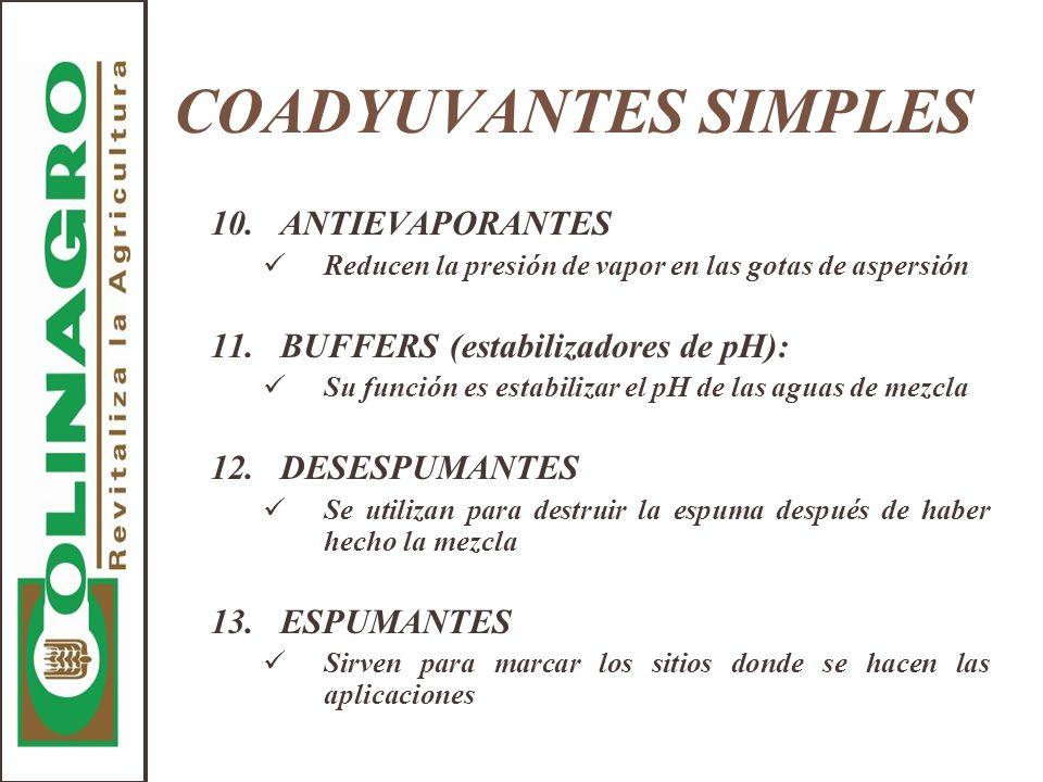 COADYUVANTES SIMPLES 10.ANTIEVAPORANTES Reducen la presión de vapor en las gotas de aspersión 11.BUFFERS (estabilizadores de pH): Su función es estabi