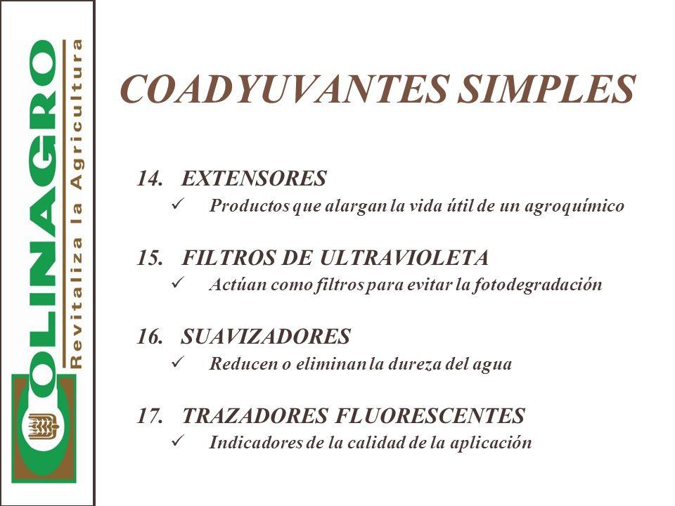 COADYUVANTES SIMPLES 14.EXTENSORES Productos que alargan la vida útil de un agroquímico 15.FILTROS DE ULTRAVIOLETA Actúan como filtros para evitar la