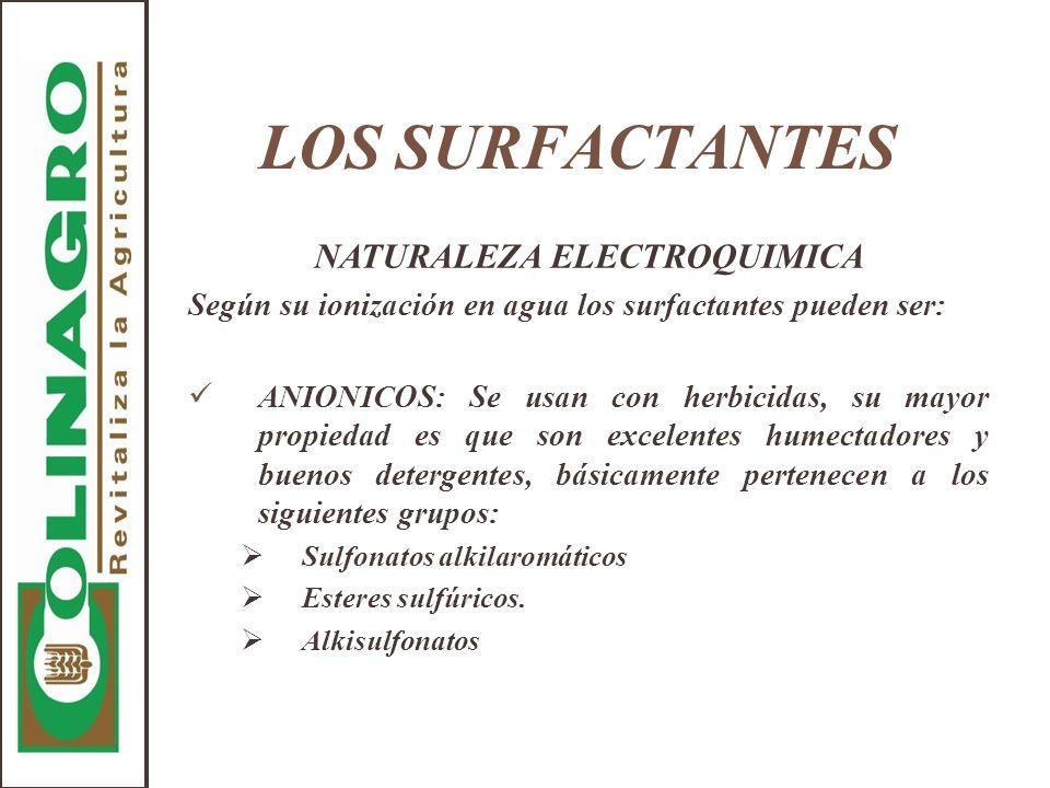 LOS SURFACTANTES NATURALEZA ELECTROQUIMICA Según su ionización en agua los surfactantes pueden ser: ANIONICOS: Se usan con herbicidas, su mayor propie