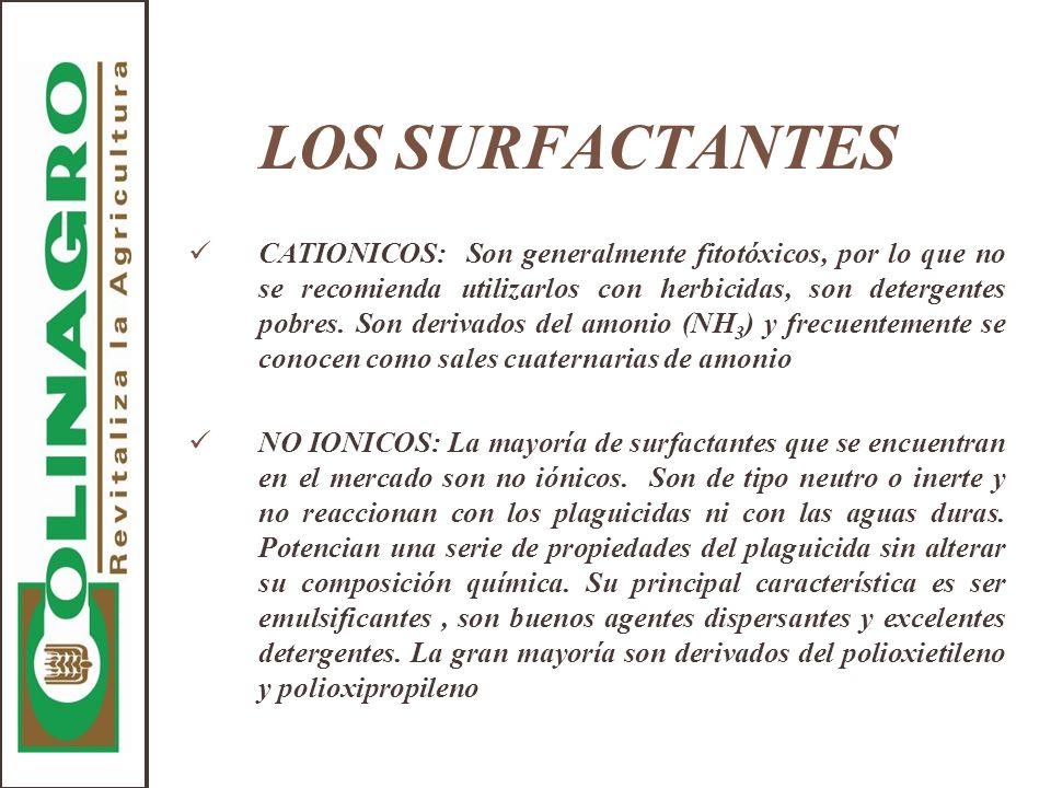 LOS SURFACTANTES CATIONICOS: Son generalmente fitotóxicos, por lo que no se recomienda utilizarlos con herbicidas, son detergentes pobres. Son derivad