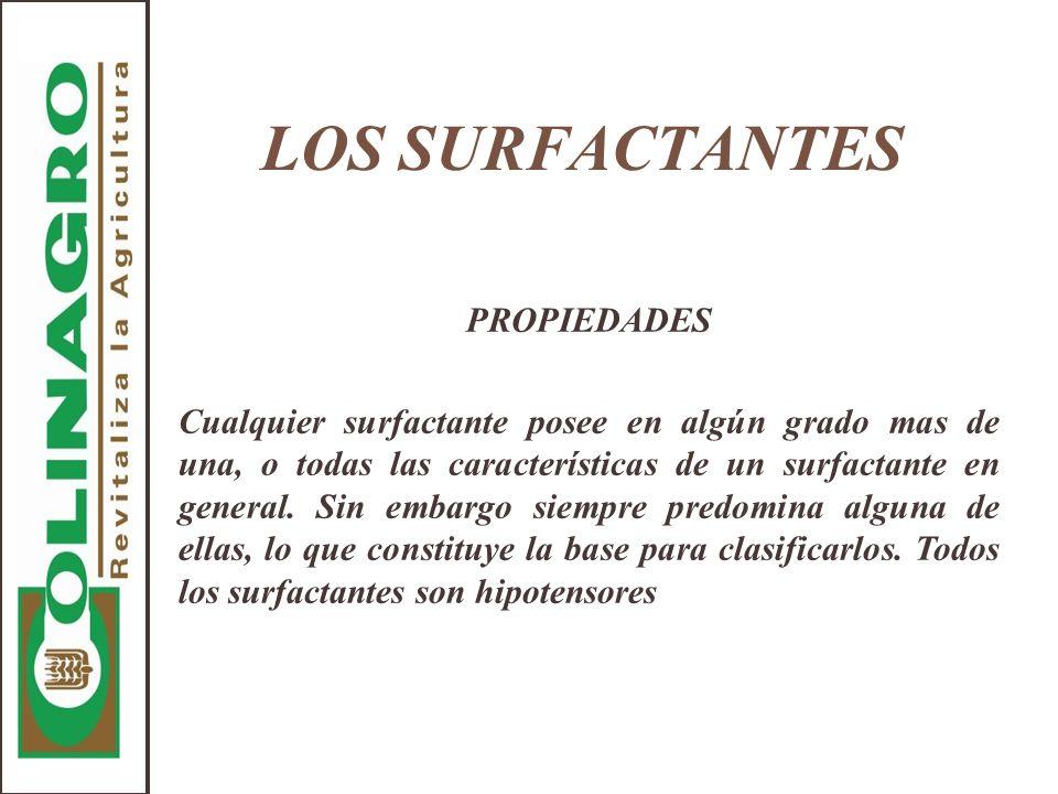 LOS SURFACTANTES PROPIEDADES Cualquier surfactante posee en algún grado mas de una, o todas las características de un surfactante en general. Sin emba