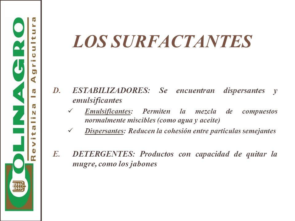 LOS SURFACTANTES D.ESTABILIZADORES: Se encuentran dispersantes y emulsificantes Emulsificantes: Permiten la mezcla de compuestos normalmente miscibles