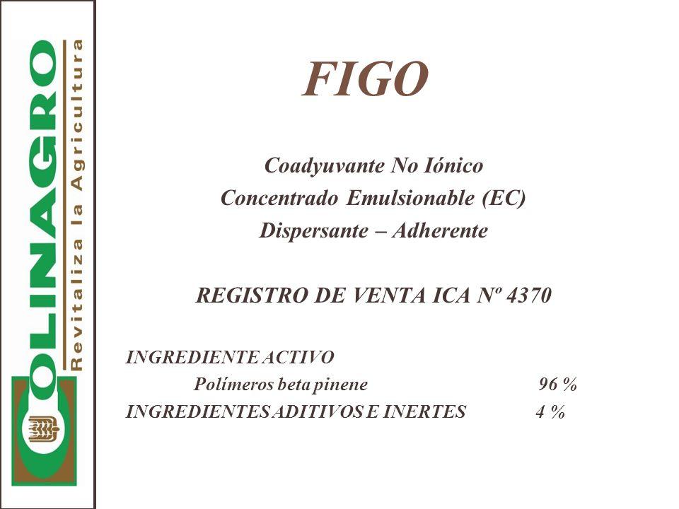 FIGO Coadyuvante No Iónico Concentrado Emulsionable (EC) Dispersante – Adherente REGISTRO DE VENTA ICA Nº 4370 INGREDIENTE ACTIVO Polímeros beta pinen