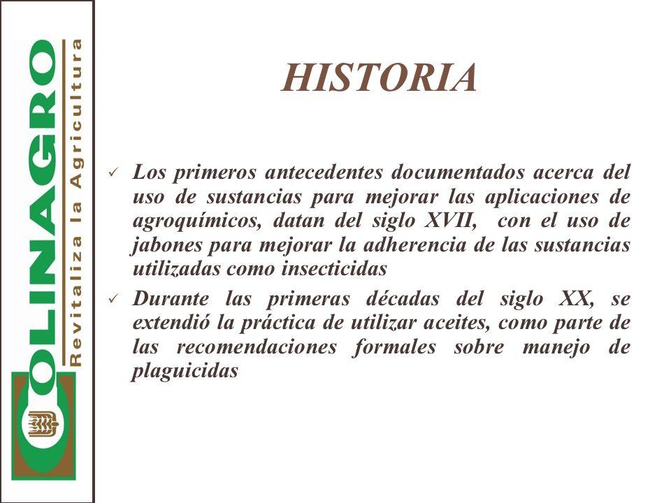 HISTORIA Los primeros antecedentes documentados acerca del uso de sustancias para mejorar las aplicaciones de agroquímicos, datan del siglo XVII, con