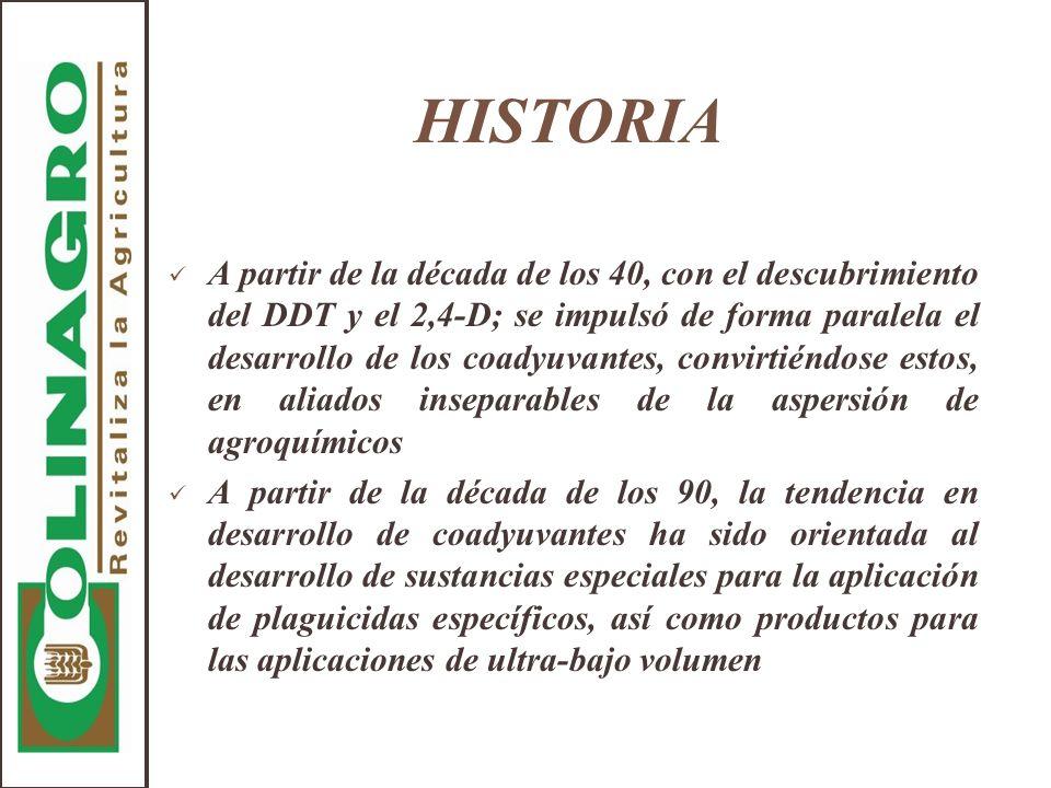 HISTORIA A partir de la década de los 40, con el descubrimiento del DDT y el 2,4-D; se impulsó de forma paralela el desarrollo de los coadyuvantes, co